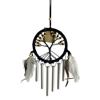 1pce Black 11cm Diameter Dream Catcher Windchime Tree of Life with Natural Beads