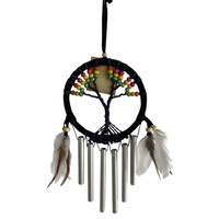 1pce Rasta 11cmD Dream Catcher Wind Chime Tree of Life with Rainbow Beads