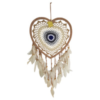 New 1pce 34cm Beige/Navy Blue Heart Dream Catcher Round Doily with Feathers Hand Made