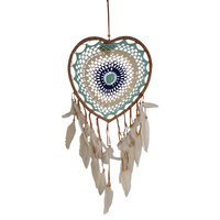 New 1pce 34cm Navy Blue/Aqua Heart Dream Catcher Round Doily with Feathers Hand Made