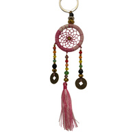 New 1pce 4cm Pink Dream Catcher Key Ring Colourful Web Design Chinese Coin Hand Made