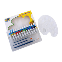 Beginners 12 Colours 12ml Acrylic Paint Kit with 3 Brushes, Palette Starter Kit