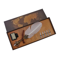 22cm White Feather Vintage Style Calligraphy Pen Set with 6 Nibs and 15ml Black Ink