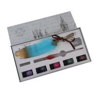 24cm Antique Style 5 Nib Calligraphy Pen Set with Two-Tone Feather Aqua & 5 Inks Gift Box