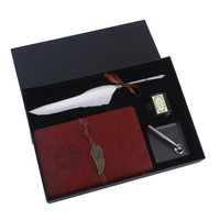 26cm Antique Style 1 Nib Calligraphy Pen Set with White Feather & Note Book Gift Box