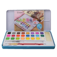 24pce Colour Watercolour Cake Half Pan Set in BLUE Metal Box with Extras