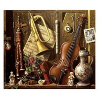 Vintage Musical Instruments Paint by Numbers Canvas Art Work DIY 40cm x 50cm