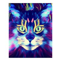 Neon Cat Face Paint by Numbers Canvas Art Work DIY 40cm x 50cm
