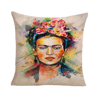 Frida Kahlo with Coloured Shadow Cushion Cover (Insert Included) 45cm Mexican Inspired Design