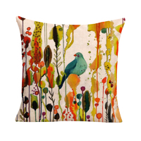 Green Bird Cushion Cover (Insert Included) 45cm Japanese Inspired Design