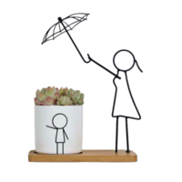 1pce 27cm Mum with Umbrella Ceramic/Metal Pot Planter Herbs Succulents