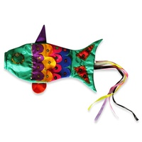1x 40cm Colourful, Handmade Fish Wind Sock in Assorted Colours, Great For Home (Colours Random)