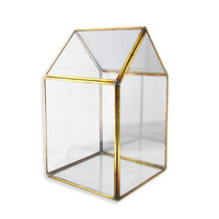 Green House Shaped Hang Made Hanging Terrarium, Made with a Brass Frame and Glass Walls 25cm x 16cm