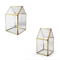 Green House Shaped Hang Made Hanging Terrarium, Made with a Brass Frame and Glass Walls