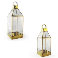 Square Hand Made Hanging Candle Holder, Made with a Brass Frame and Glass Walls