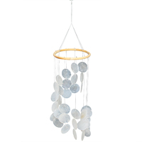 60cm x 15cm Capiz Shell Mobile Wind Chime with White Mother of Pearl Shells