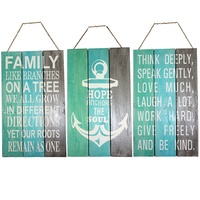 50cm Wooden, Hanging, Aqua/Torquiose & Grey 3 Tier Sign with Inspirational Quote, Home Décor