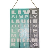 "40cm x 30cm ""Live, Laugh, Love"" Inspirational Life Quote on Wooden Hanging Sign"