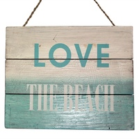 "30cm x 24cm ""Love The Beach"" Wooden Hanging Sign in White & Blue Wash"