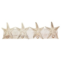 50cm x 16cm Keys/Coat Hanger Rack with White Wooden Starfish Motifs, Beach House