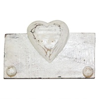 19cm x 13cm Keys/Coat Hanger Rack with Single Love Heart in White Wooden, Beach House
