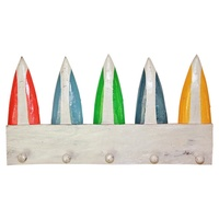 50cm x 28cm Keys/Coat Hanger Rack with Surf Boards, Colourful Wooden, Beach House