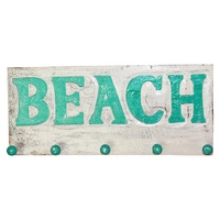 "45cm x 20cm Keys/Coat Hanger Rack with ""BEACH"" in Turquoise Wooden, Beach House"
