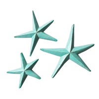 Aqua Wash Set of 3 Wooden Starfish 14cm, 18cm, 22cm Hangable