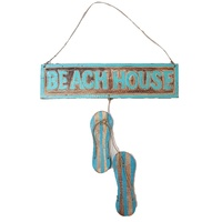 50cm Turquoise Beach House Thong Sign Natural Wash Wooden Hand Made Motif