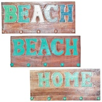 45cm x 20cm Keys/Coat Hanger Rack Beach Wash in Wooden, Hand Made, Rustic Beach House