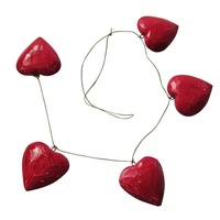 80cm Hanging Nest of 5 Red Wash Wash Hearts Beach Theme