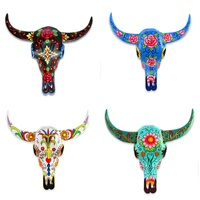 28cm Hand Painted Cow Skull Wall Art, Made of Resin, Sugar Skull