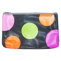 Funky Retro Pencil Case w/ Zipper PVC 21cm x 13cm Back to School - GREY