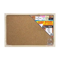 1pce Cork Board w/Hooks - 45x60cm with Wooden Framing Hangable