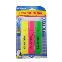 3 Pack Coloured Fluorescent Highlighters - Yellow, Pink and Green.