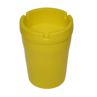 1pce Yellow Butt Ash Bucket 8x11cm Tray Smoke Waste Holder Lid Bin
