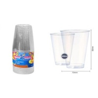 15pce x Plastic Tumblers - 207ml - Clear. Excellent for Parties and Birthdays.