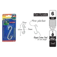 2 x Pcks of 6pce S-Hooks 60x30mm Small (12 Hooks in Total)
