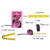 2 x Hot Pink Tape Measure 5m 20mm Wide, with Comfortable Grip and Anti Slip