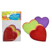 6pce Felt Hearts 11cm, 6 Colours Great for Art and Craft and Scrapbooking