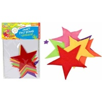 6pce Felt Stars 12cm, 6 Colours Great for Art and Craft and Scrapbooking