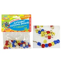 52pce Wooden Alphabet Beads Assorted Colours