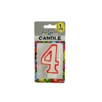 "Number ""4"" Birthday Candle. 7.5cm High. Excellent for Parties."