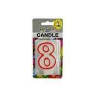 "Number ""8"" Birthday Candle. 7.5cm High. Excellent for Parties."