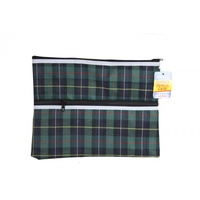 1pce x 35cm Tarton Pencil Case w/ 2 Zippers. Office Supplies. Back to School