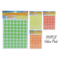 315pce Fluorescent Round Stickers on Sheet, Can Use For Point of Sale, Garage Sales