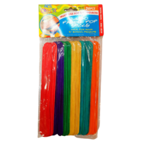 26pce Jumbo Paddle Pop Sticks 19cm Mulit Coloured Wooden