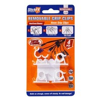4pce Self-Adhesive Grip Clips - 8mm - Removable - running cable/wires