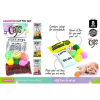 NEW 8pc Cat Toy Set W /Catnip, Balls and Pom Poms 4 Colours Value Pack