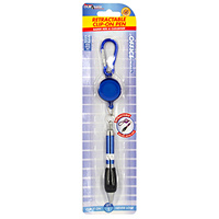 1pce 11cm Retractable Clip On Pen Blue Secure Metal Home Office Work